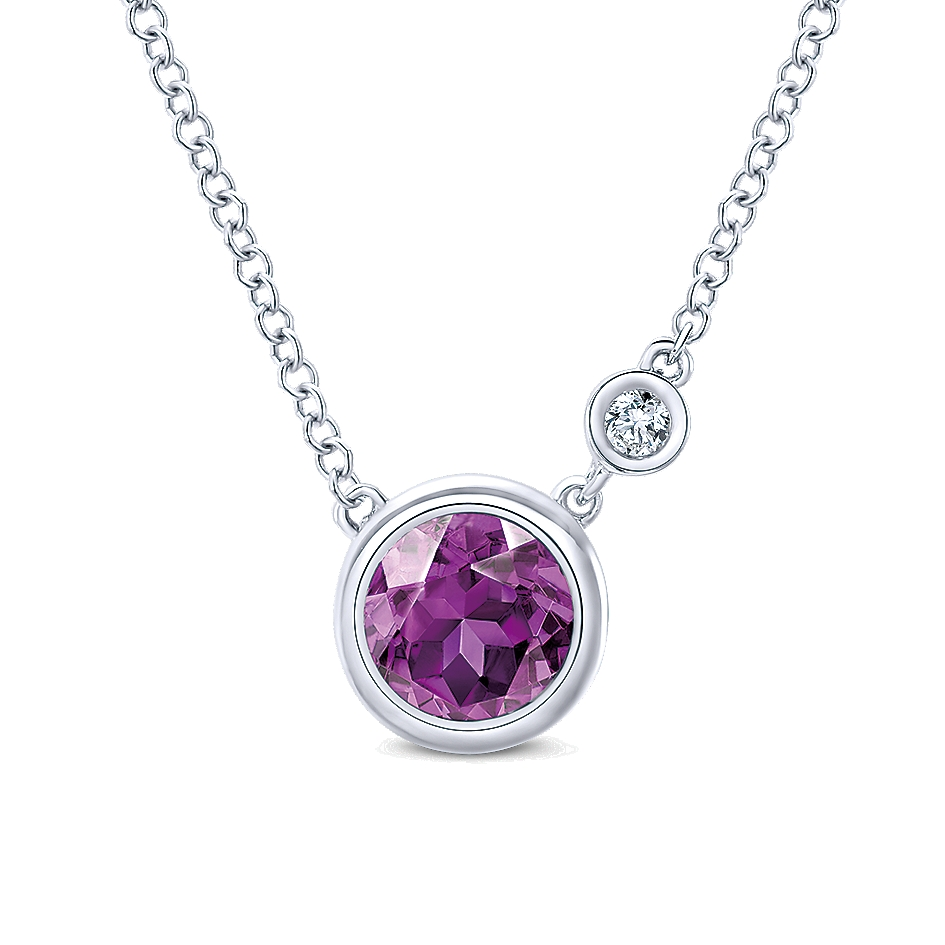 Gabriel & Co. Color Solitaire Collection Diamond Amethyst Necklace