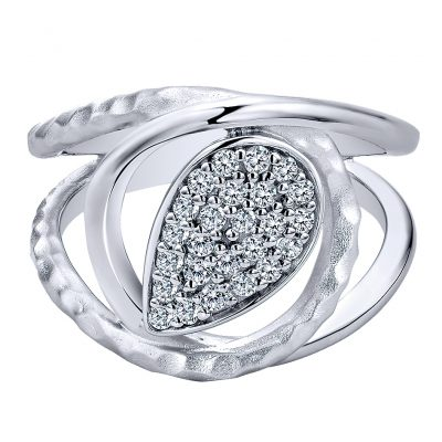 Gabriel & Co. Souviens Collection Silver White Sapphire Wide Band