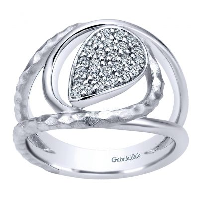 Gabriel & Co. Souviens Collection Silver White Sapphire Wide Band