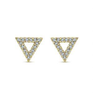 Gabriel & Co. 14k Yellow Gold Diamond Open Triangle Stud Earrings