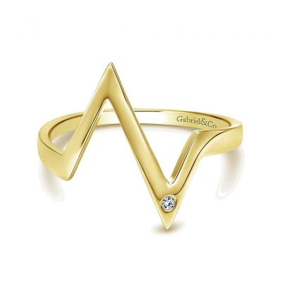 Gabriel & Co. 14k Yellow Gold Diamond Midi Ring