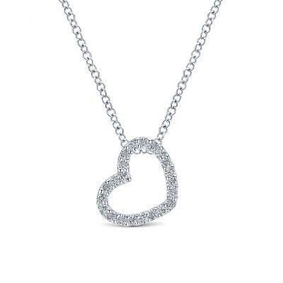 Gabriel & Co. 14k White Gold Diamond Heart Necklace