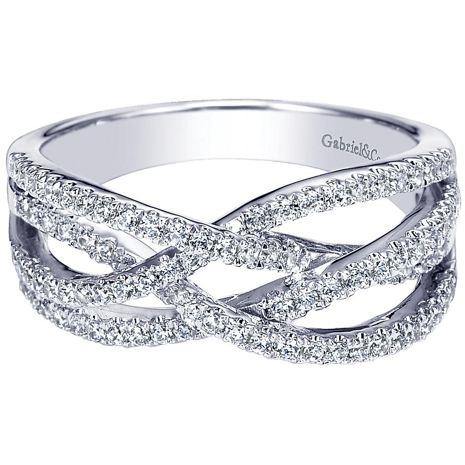 Gabriel & Co. 14k White Gold Diamond Ladies Ring