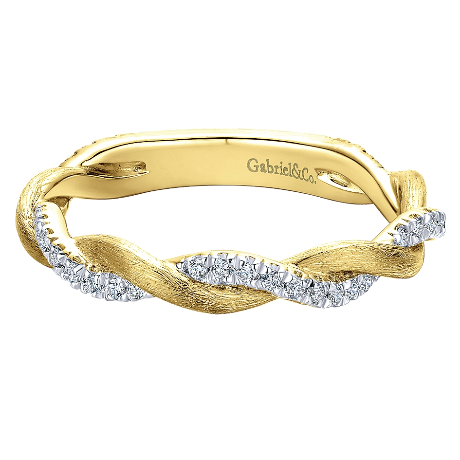 Gabriel & Co. 14k Yellow Gold Twisted Pave Diamond Stackable Ladies Ring