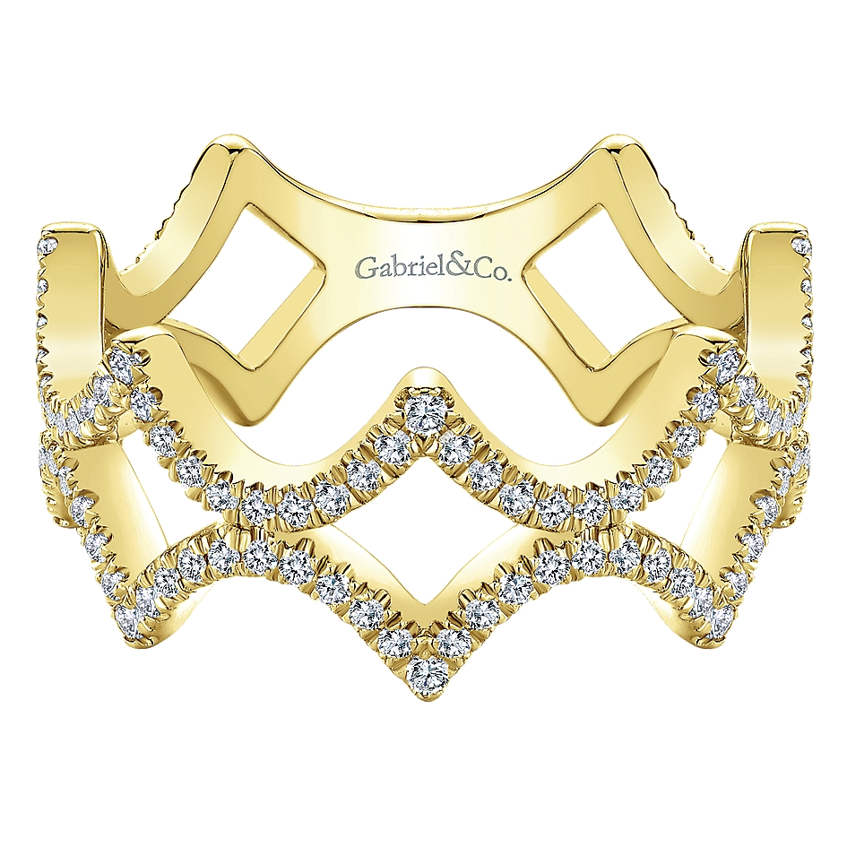 Gabriel & Co. 14k Yellow Gold Diamond Stackable Ring
