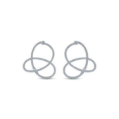 Gabriel & Co. 14k White Gold Diamond Intricate Hoop Earrings