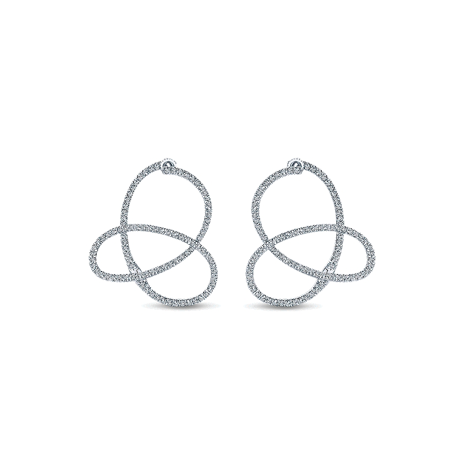 Gabriel & Co. 14k White Gold Diamond Intricate Hoop Earrings