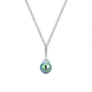 Gabriel & Co. 14k White Gold Diamond Black Pearl Necklace