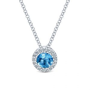 Gabriel & Co. 14k White Gold Diamond Swiss Blue Topaz Necklace