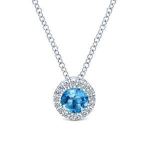 Gabriel & Co. 14k White Gold Diamond Swiss Blue Topaz Necklace