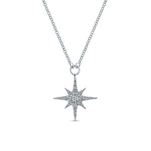 Gabriel & Co. 14k White Gold Diamond Starburst Necklace