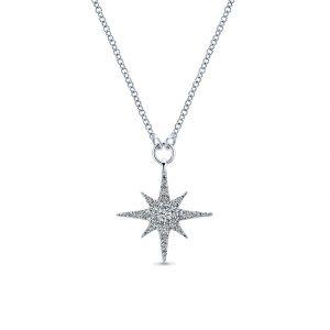 Gabriel & Co. 14k White Gold Diamond Starburst Necklace