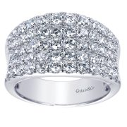 Gabriel & Co. 14k White Gold Diamond Wide Band