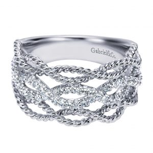 Gabriel & Co. 14k White Gold Diamond Wide Band