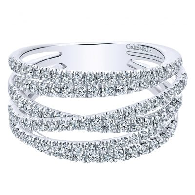 Gabriel & Co. 14k White Gold Diamond Wide Ladies Band