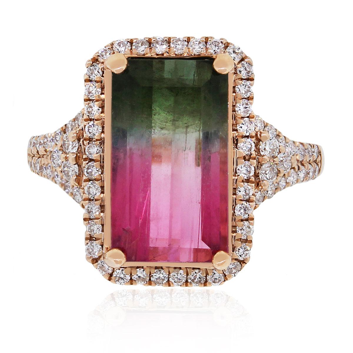 14k Rose Gold 4.69ct Watermelon Tourmaline Diamond Ring