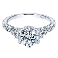 Gabriel & Co. 18k White Gold Round Diamond Engagement Ring