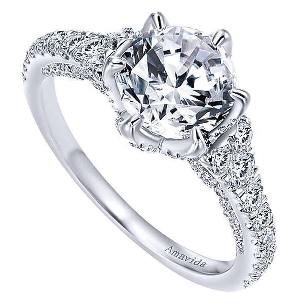 Gabriel & Co 18k White Gold Round Diamond Engagement Ring