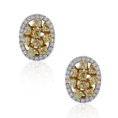 18k two tone diamond earrings