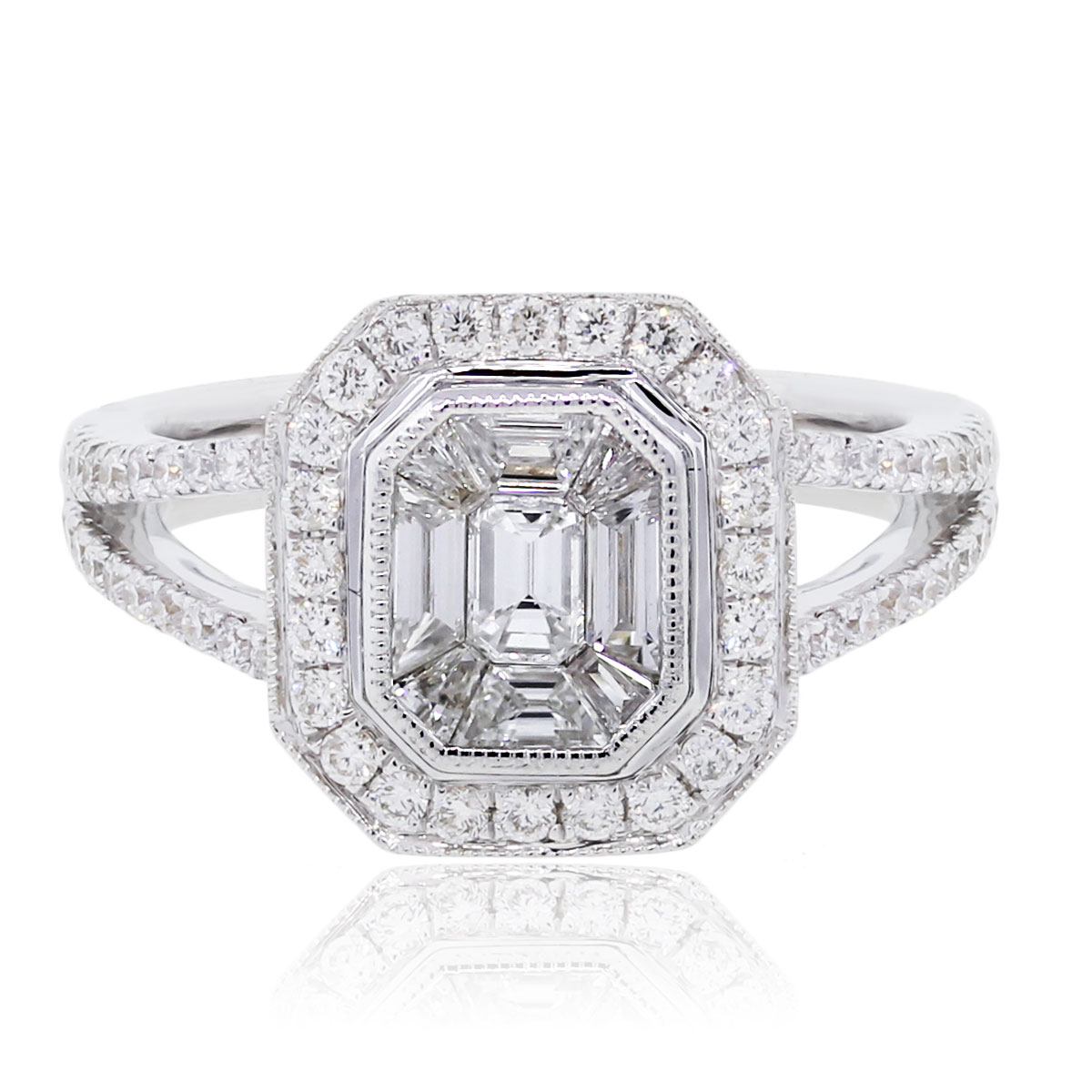 18k White Gold 0.86ctw Round and Baguette Diamond Illusion Ring