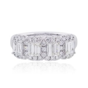 18k White Gold 1.45ctw Baguette and Round Diamond Band Ring
