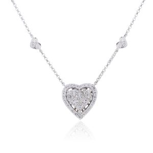 18k White Gold 0.97ctw Princess Cut and Round Diamond Heart Necklace