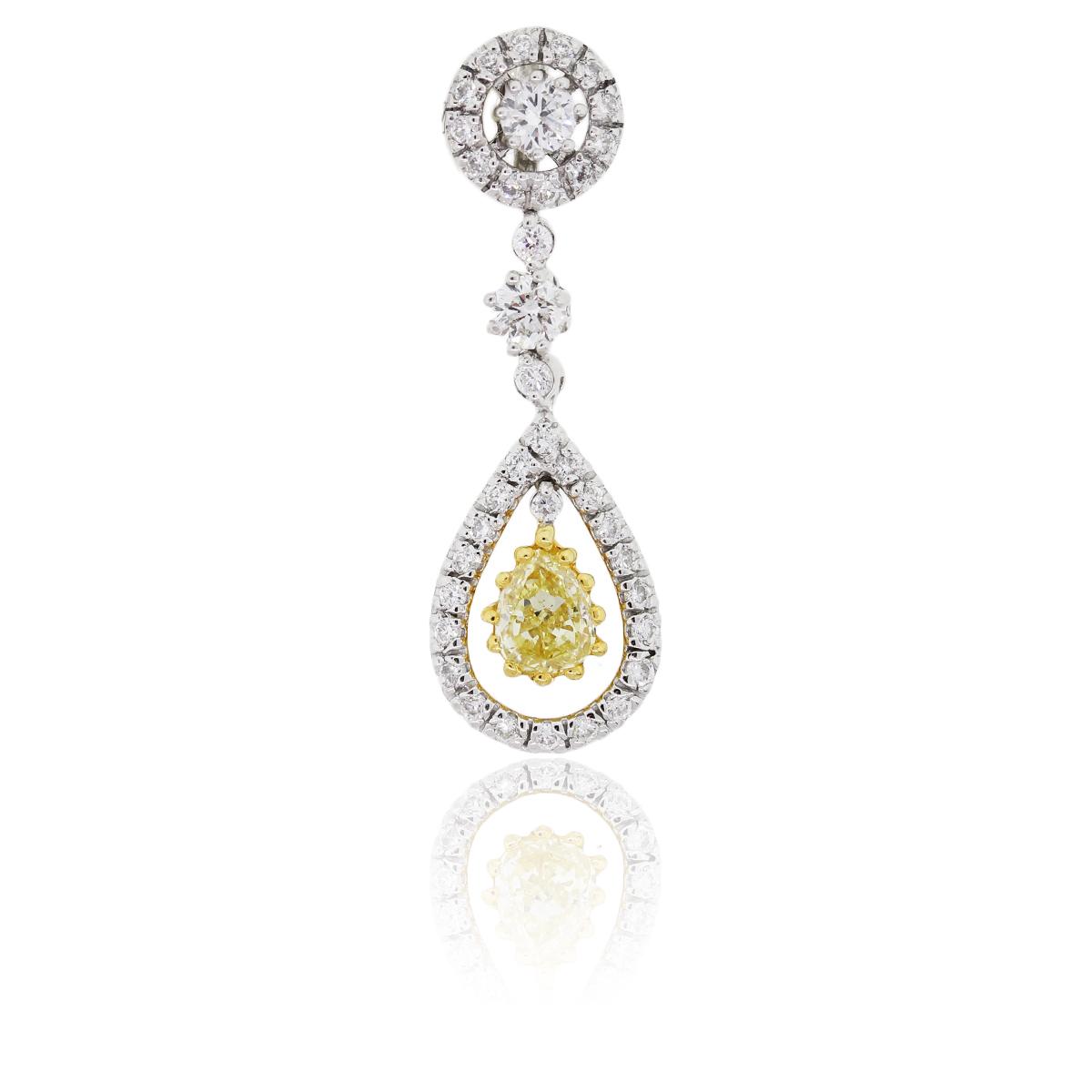 14K 0.66ct Fancy Yellow Pear Shape Diamond Pendant