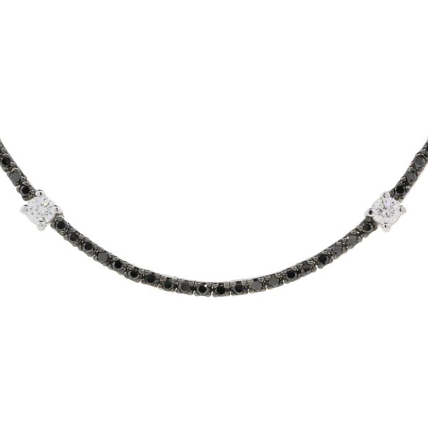 14k White Gold  4.12ctw Black & White Diamond Necklace