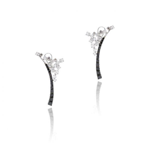 00587adad 14k White Gold 2.57ctw Rose Cut White & Black Diamond Earrings - Diamonds  By Raymond Lee