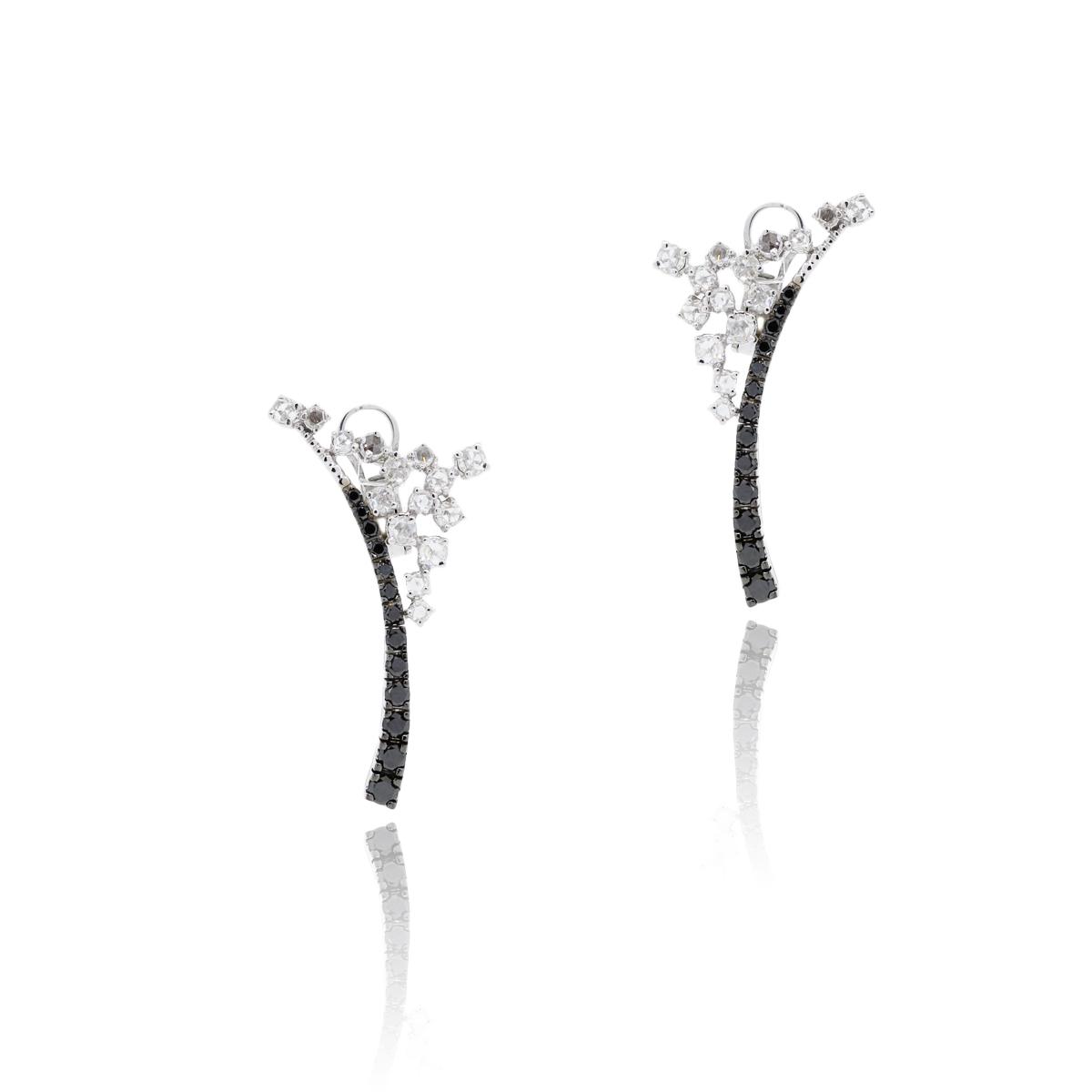 14k White Gold 2.57ctw Rose Cut White & Black Diamond Earrings