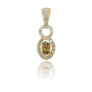 14k Yellow Gold 0.49ct Champagne Oval Diamond Pendant