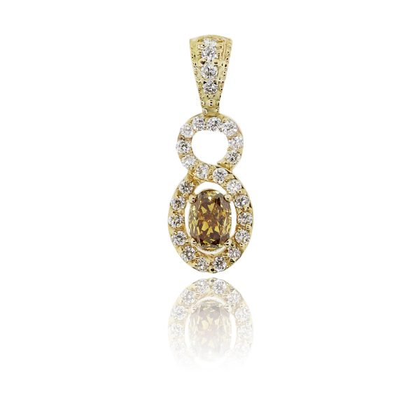 14k Yellow Gold 0.49ct Champagne Oval Diamond Pendant