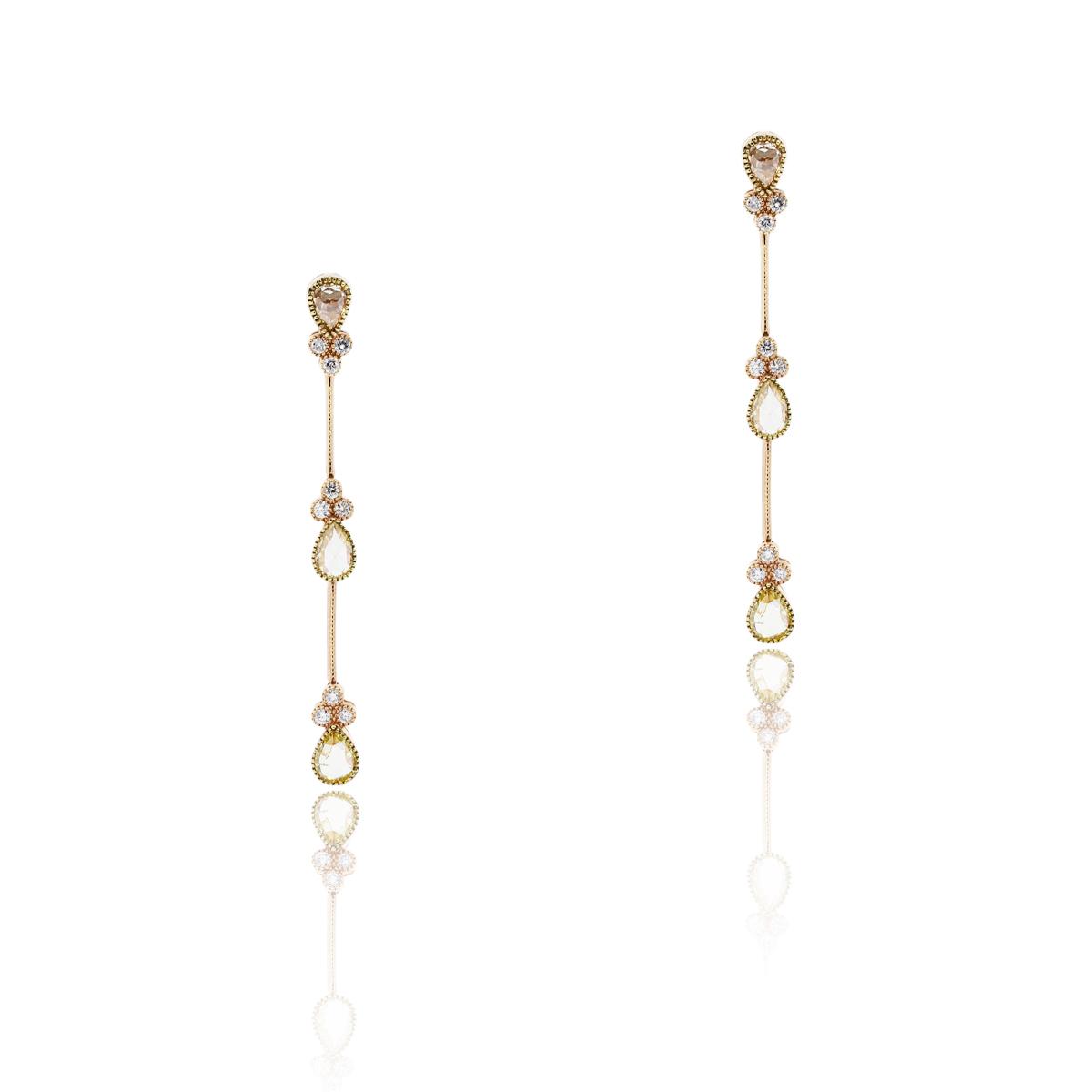 14k Rose Gold 1.98ctw Pear Shape Diamond Dangle Earrings