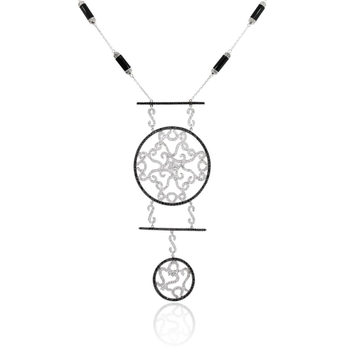 14k White Gold 5.98ctw Medallion Diamond Necklace