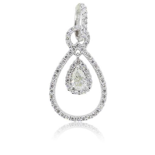 18k White Gold 0.34ct Pear Shape Diamond Pendant
