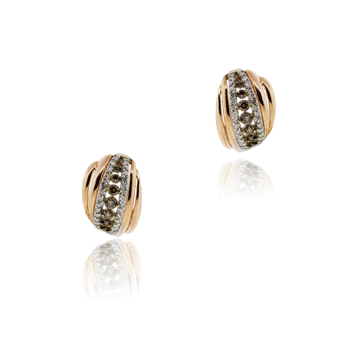 14k Rose Gold Champagne Diamond Earrings
