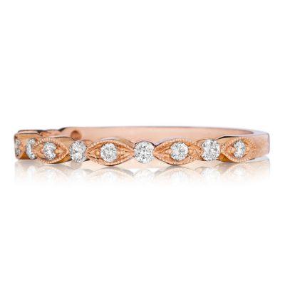 Henri Daussi R26 2HA6 Rose Gold 0.20ct Diamond Band