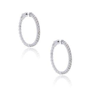 14k White Gold 1.68ctw Diamond Hoop Earrings