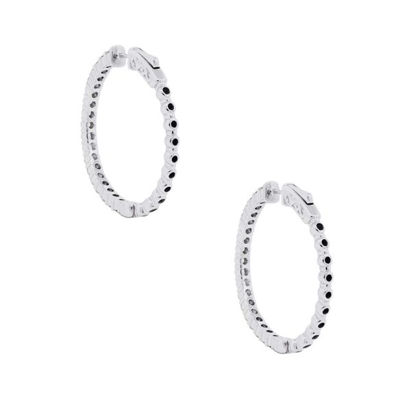 14k White Gold 1.68ctw Diamond Hoop Earrings