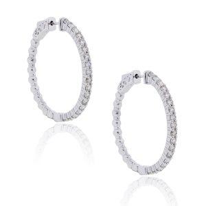 14k White Gold 5.45ctw Diamond Hoop Earrings