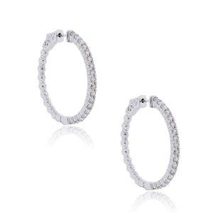 14k White Gold 4.35ctw Diamond Hoop Earrings