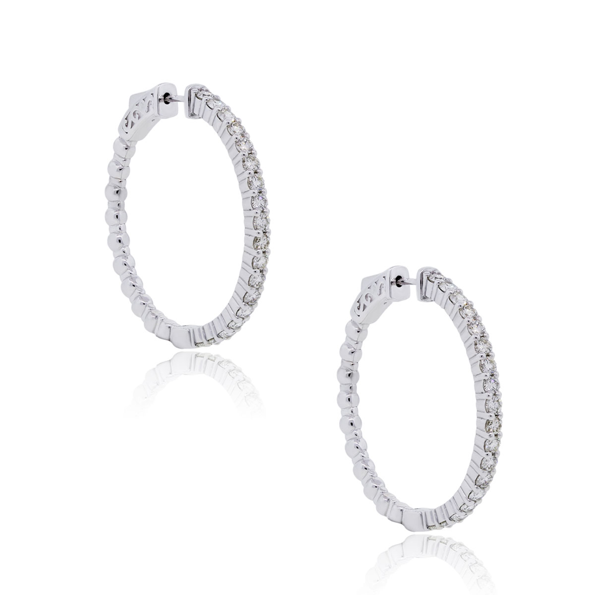 Permalink to White Gold Diamond Hoop Earrings
