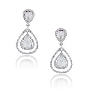 18k White Gold 3.9ctw Pear Shape Diamond Dangle Earrings