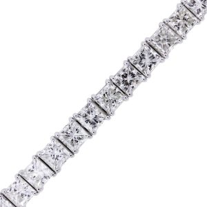 18k White Gold 24.94ctw Princess Cut Diamond Tennis Bracelet