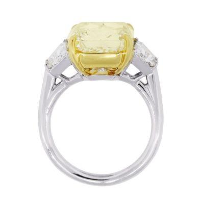 Platinum 10.36ct GIA Certified Fancy Yellow Diamond Engagement Ring