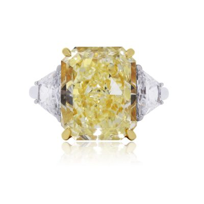 Platinum 10.36ct GIA Certified Fancy Yellow Diamond Engagement Ring