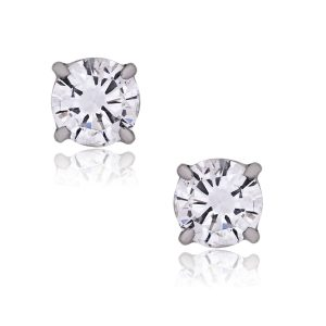 14k White Gold 0.89ctw Round Brilliant Diamond Stud Earrings