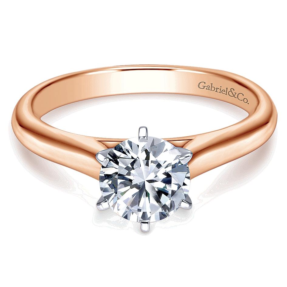 Gabriel & Co Er6623w4jjj 14k Rose Gold Solitaire Engagement Ring Setting