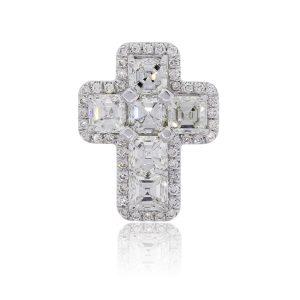 18k White Gold 2.68ctw Asscher Cut and Round Brilliant Diamond Cross