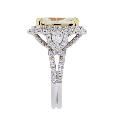 18k Two Tone Gold 4.58ct Fancy Light Yellow Diamond Engagement Ring